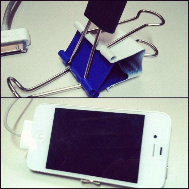 DIY IPhone Stand. 2 Binder Clips And A USB Flash Drive Cap