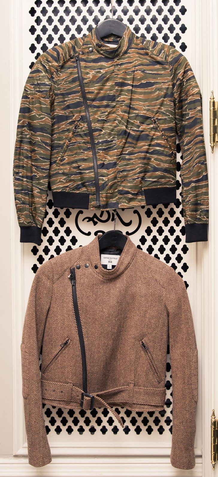 Carine Roitfeld Talks Her New Collection With Uniqlo: Camo printed bomber jacket, cropped tweed jacket with belt   coveteur.com