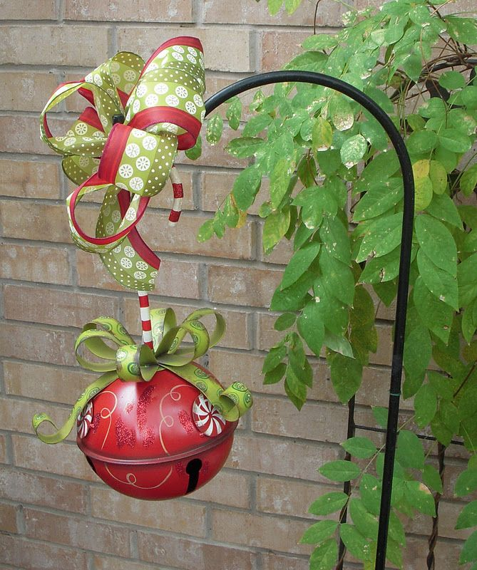 Use Sheperd\u0027s Hooks In The Winter! Hang a Christmas bell with a bow