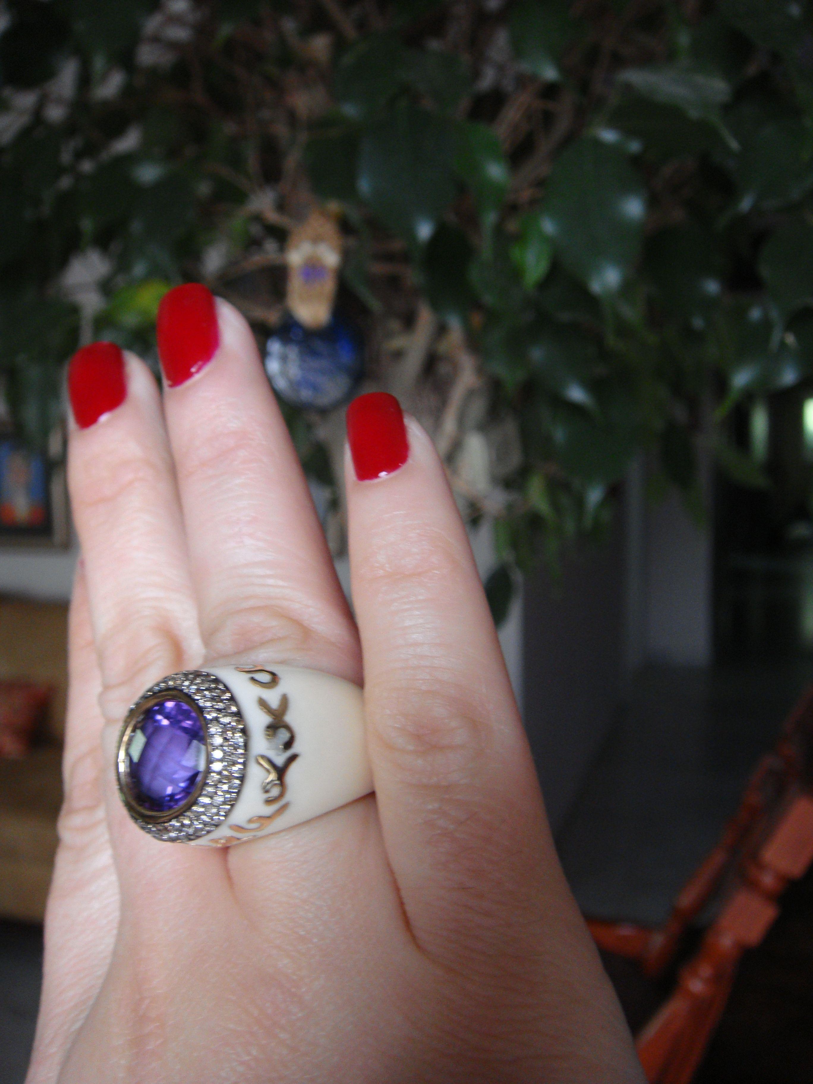 تحفة   Tohfah custom made Jewelry ,white ivory ring with gold diamond and Amethyst stone