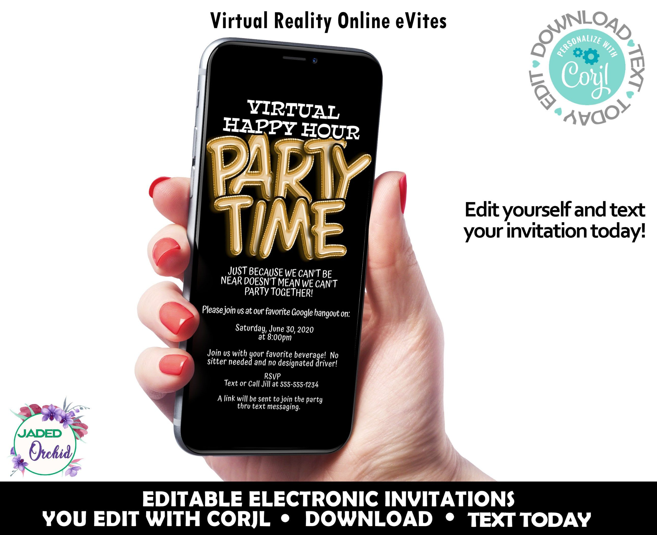 iPhone Happy Hour Birthday Invitation, Virtual Reality