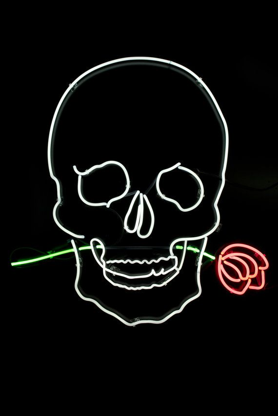 Skull With Rose Neon Light Sign By Shoppastelblack On Etsy