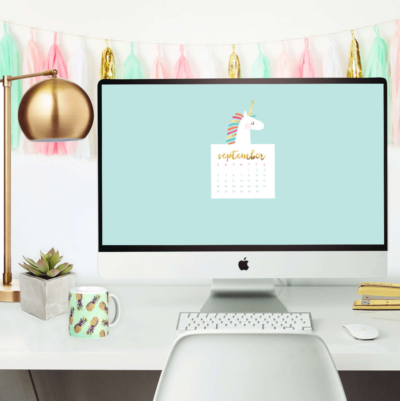 Oh So Lovely Blog shares four free September Desktop Wallpaper Calendars in two themes: unicorn or pant swoosh. Download your favorite today!