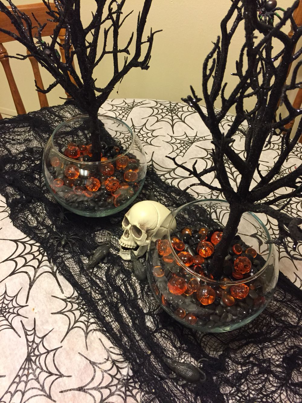 Halloween centerpiece. Purchased black glitter tree, glass
