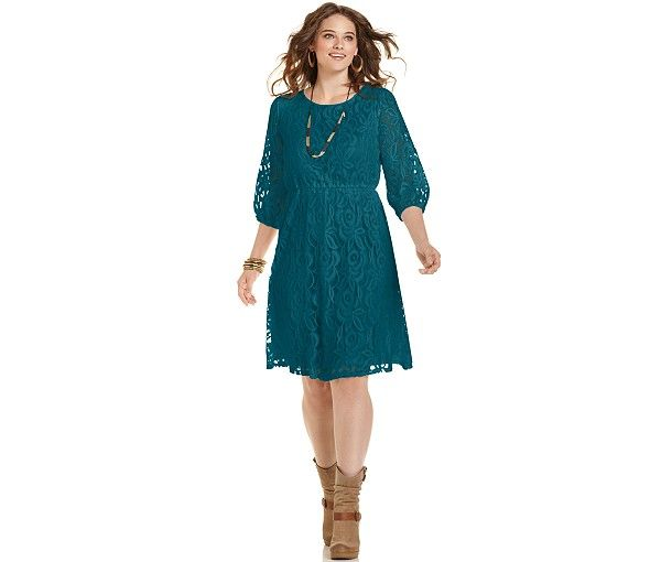 ING Plus Size Three-Quarter-Sleeve Lace Dress - Dresses - Plus Sizes - Macy's