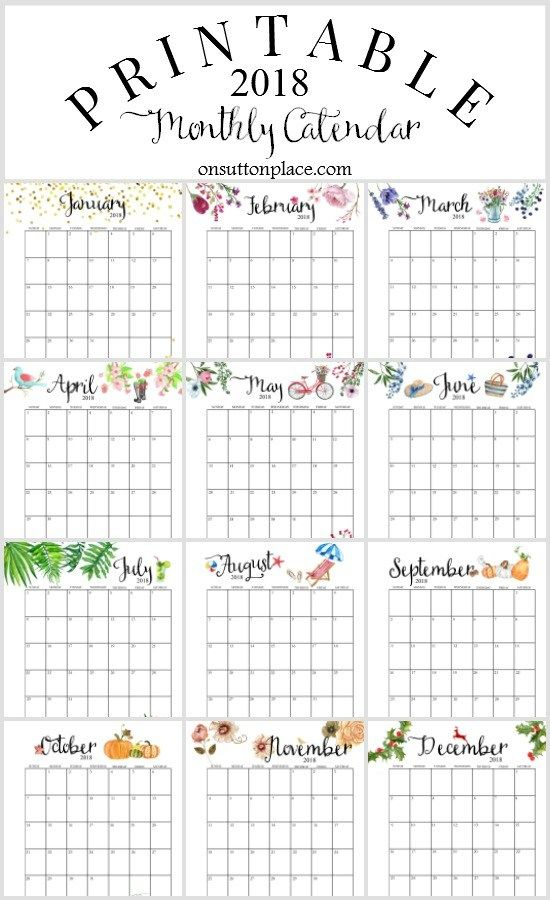 2018 Printable Monthly Calendar with Planner Extras Pinterest