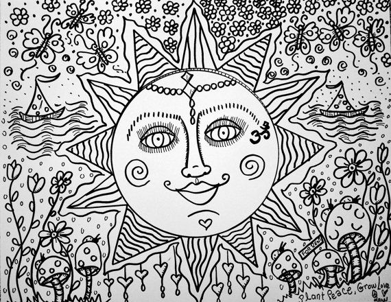 sweet summer days a color yourself hippie art - Psychedelic Hippie Coloring Pages