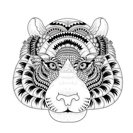 Cabeza de tigre atractivo página para colorear — Vector de stock ...