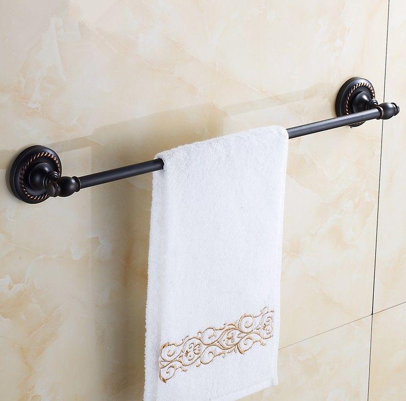 2016 Bathroom Accessories Br Material Antique Black Finish Single Towel Bar Rack Solid