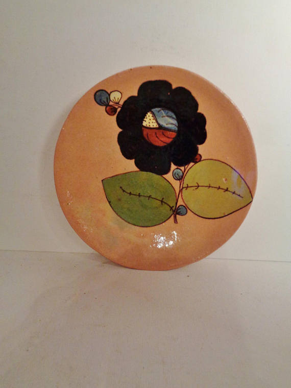 Vintage Primitive Mexico Hand Painted Redware Decorative Plate Glazed Hand Made c. 1940\u0027s Mexican & Vintage Primitive Mexico Hand Painted Redware Decorative Plate ...
