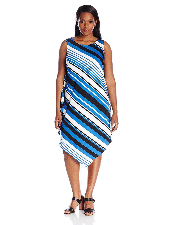 msk women's plus-size asymmetrical hanky hem stripped dress