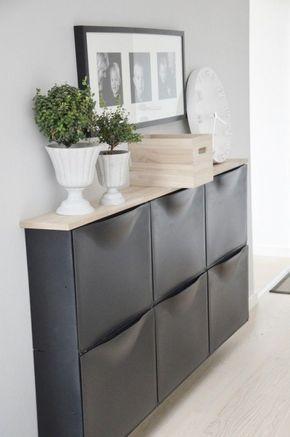 Kommode schmal flur  Klasse Lösung für schmale Räume. Ikea Schuhregal als Kommode ...