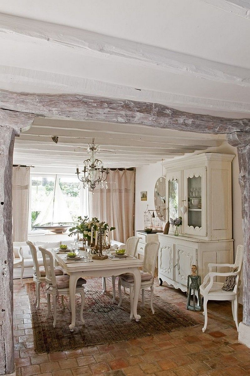 Dining Room: Tranquil French Country Dining With Painted Barn Wood Detail  Coupled With Brick Tile Floor And Classic Dining Table Chair Also  Chandelier: ...