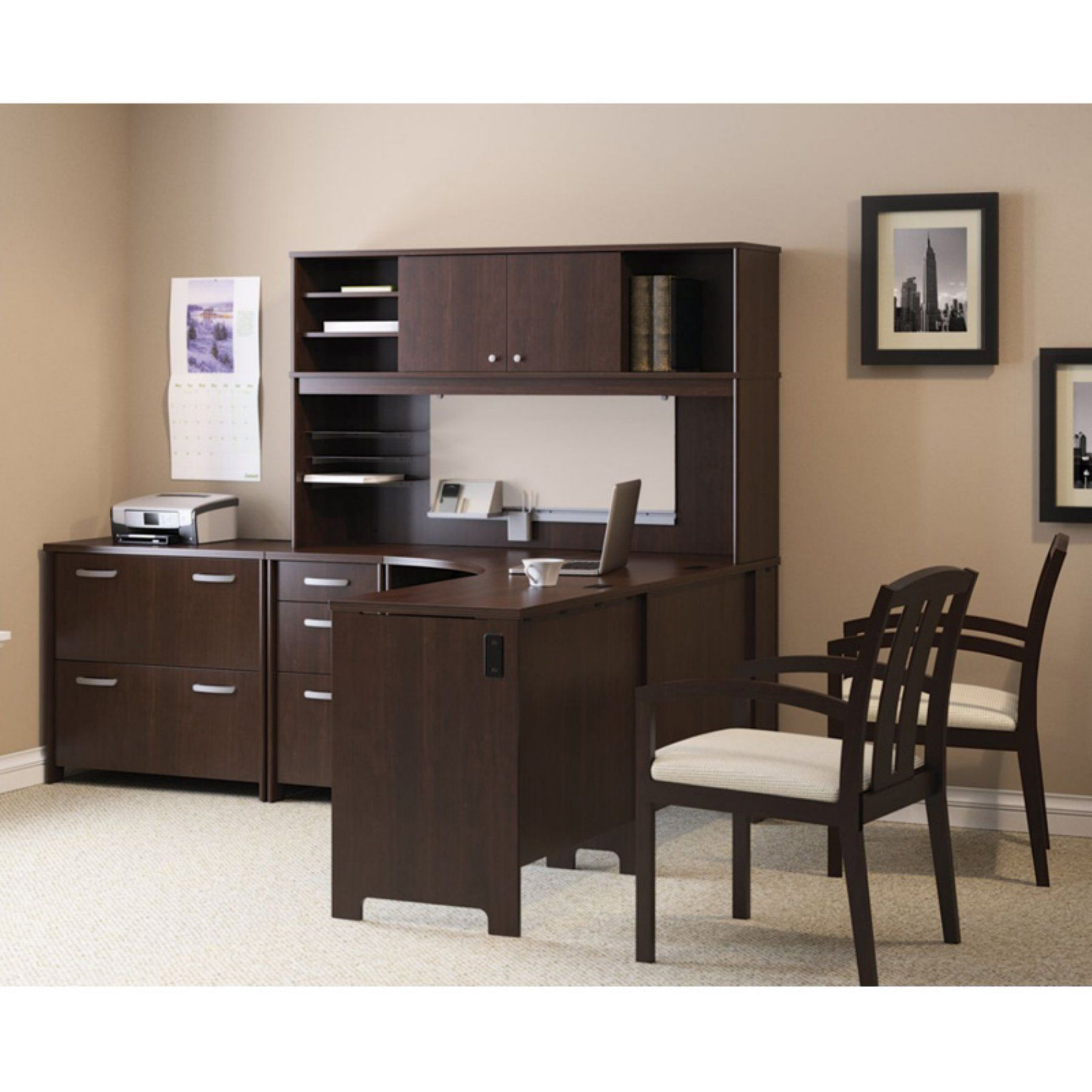 Bush envoy lshaped desk and hutch with optional lateral filing