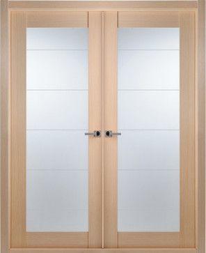 Contemporary Bleached Oak Interior Double Door Lined Frosted Glass    Contemporary   Interior Doors   Tampa