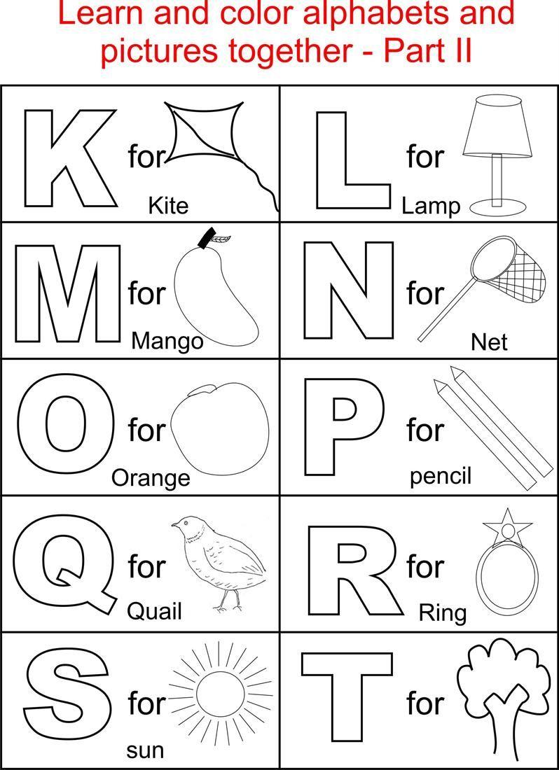 Alphabet Part II coloring printable page for kids ... | alphabet coloring worksheets for kindergarten