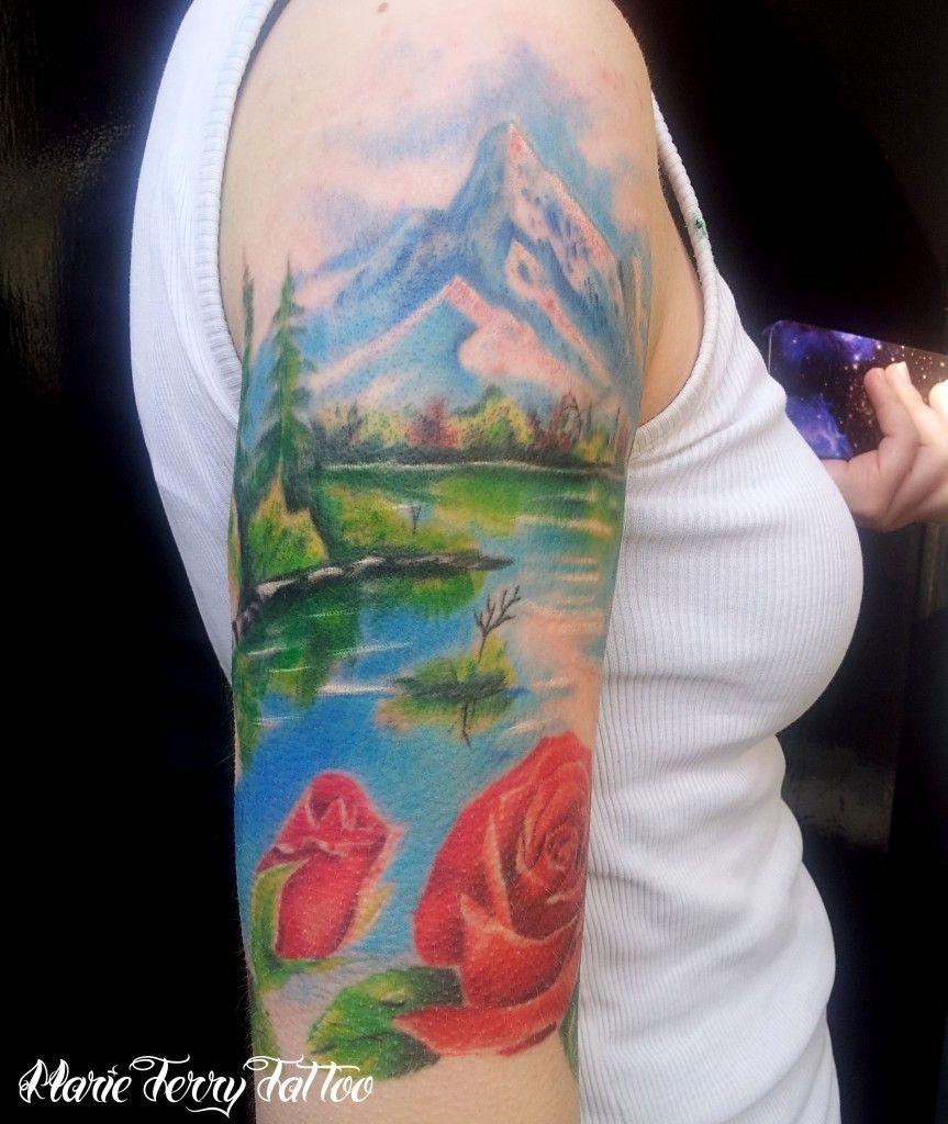 Realistic Tattoos Gallery Mountain River Tattooa Realistic Tattooof A Mountain River Tattooed In Full Colour On The Landscape Tattoo Tattoos Mountain Tattoo
