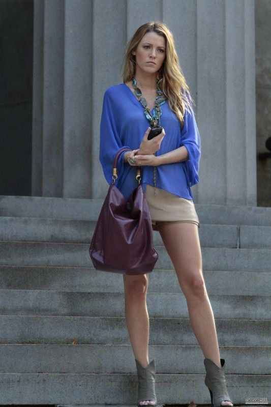 Blake Lively wearing Susanna Galanis Statement Necklace, Gypsy 05 Angali Top, Wayne Spring 2010 Rtw Skort, Yves Saint Laurent Roady Patent Hobo and Giuseppe Zanotti Seam Detail Peep-Toe Booties.