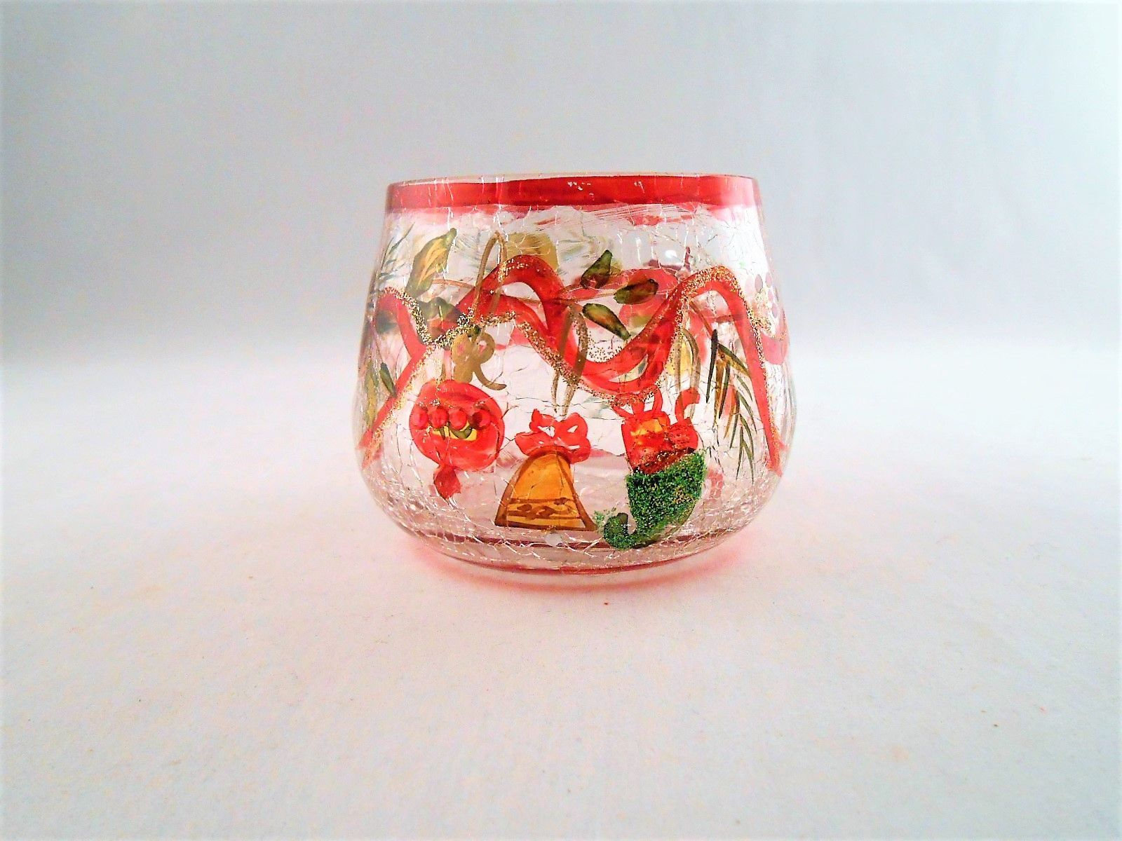 Yankee Candle Co Crackled Glass Painted Holiday Garland Votive
