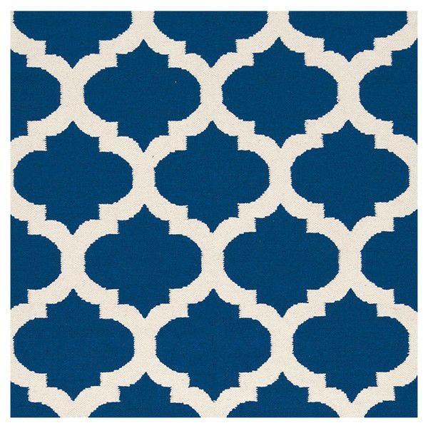5 X 8 Flat Woven Wool Area Rug Handmade Blue White Trellis