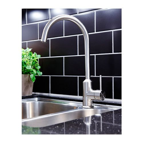 RINGSKÄR Single-lever kitchen mixer tap - stainless steel colour ...