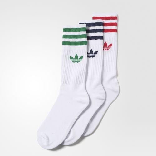 adidas Meia Solid Crew 3 Pares | Socks em 2019 | Meias
