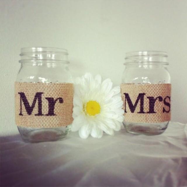 Ball Jar Wedding Decorations Tan Burlap Mr And Mrs Mason Jar Set Burlap Wedding Decorations
