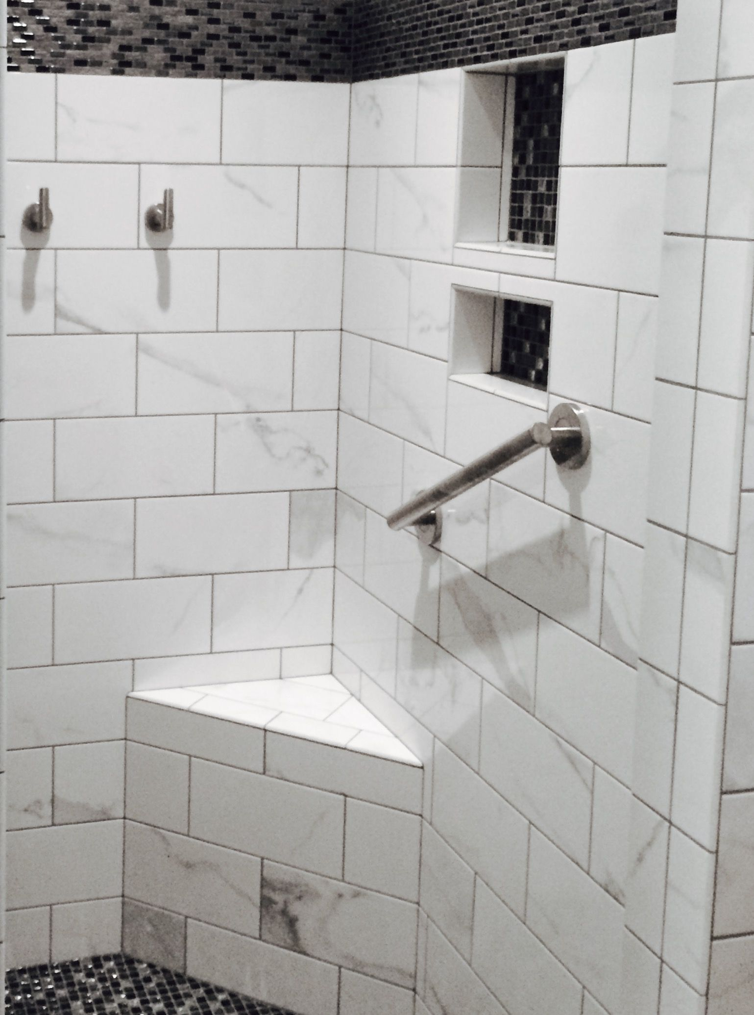 Shower Seat - Black, White & Grey ~ Ceramic and Glass Tile and ...