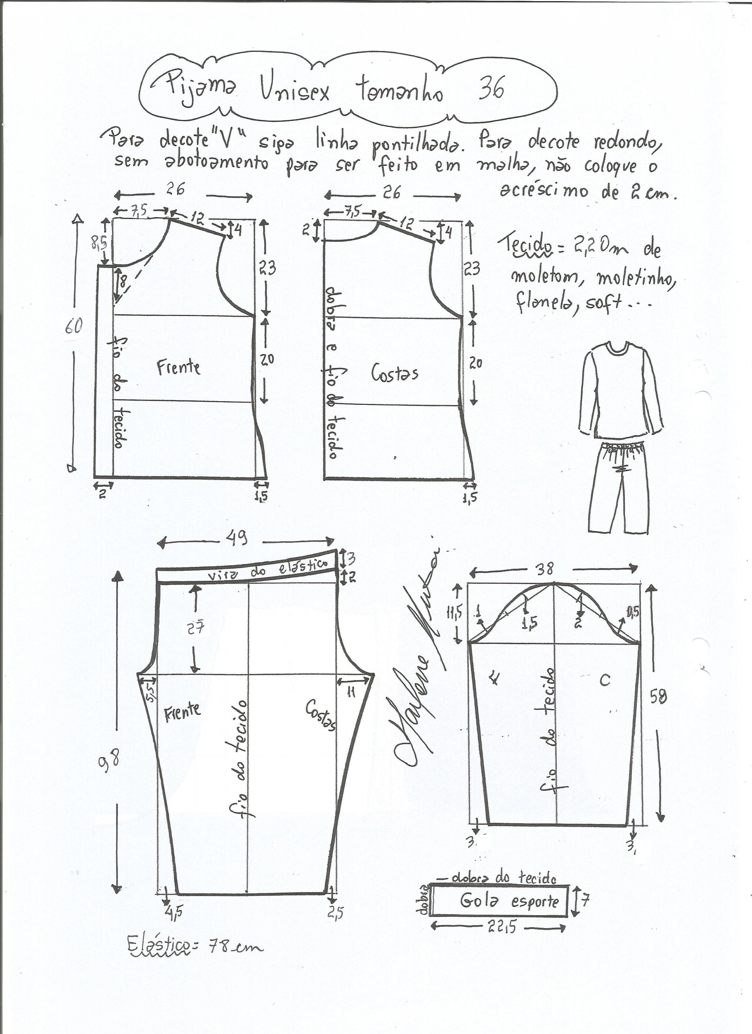 Patrón de Pijama Unisex | g | Pinterest | Pijama, Patrón de pijama y ...