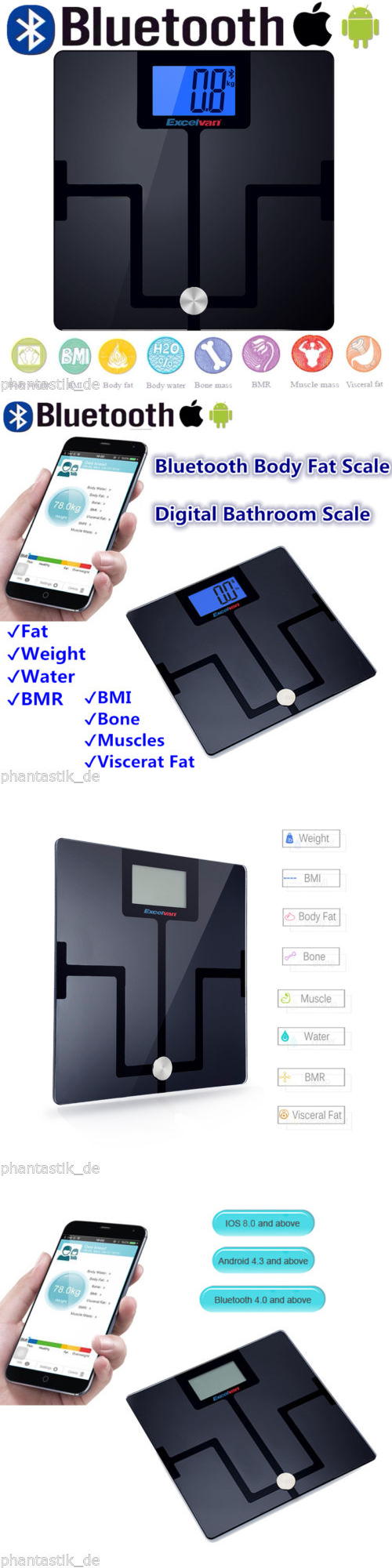 Bmi bathroom scales - Scales Smart Bluetooth Body Fat Scale Digital Bathroom Scale Bmi Bmr Weight Water Mass