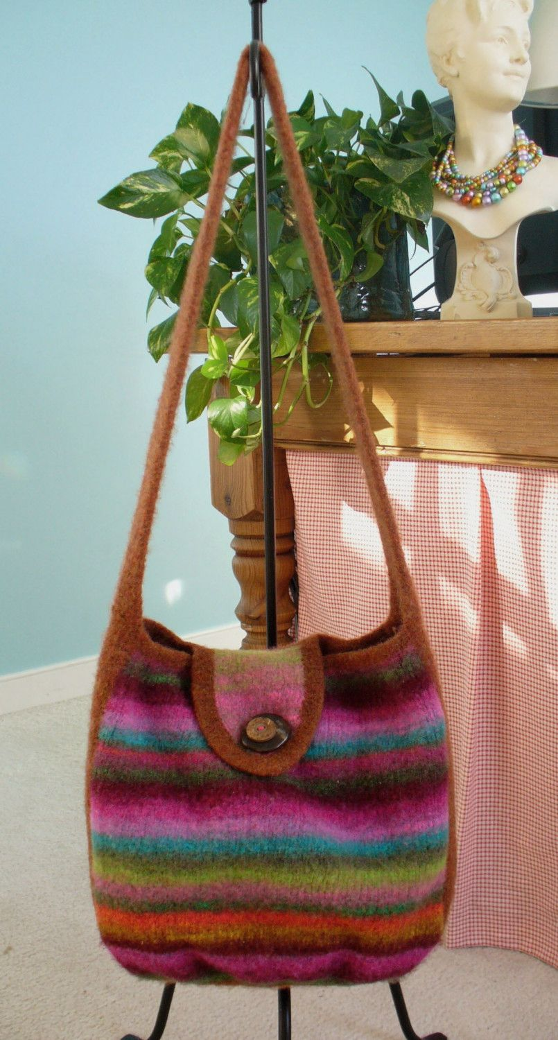 Felted Knitting PATTERN Messenger - Satchel - Carry All Tote by ...