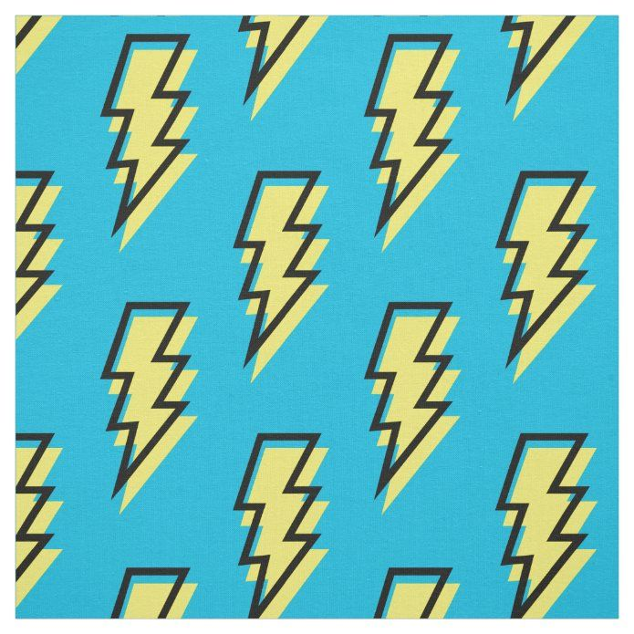 80's/90's Neon Blue Yellow Lightning Bolt Pattern Fabric