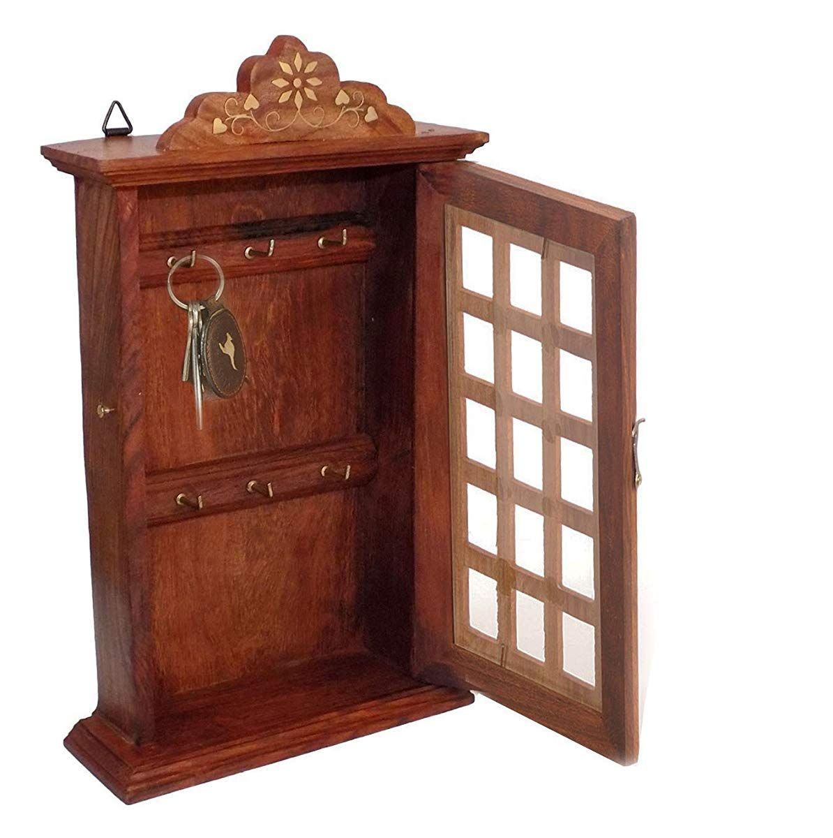 Indian Hand Crafted 13 Wooden Key Box Checks Inlay Work Key Holder Decorative Brown Color Key Cabinet Organizer 6 Hooks For Your Dream Home Easter Day Mot Wooden Key Holder