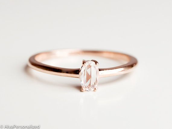 4506cb056 Minimalist and elegant ♡ ▻ FEATURES; Gemstones: White Sapphire; 5mm*3mm  Material Options: 14k Rose Gold, 14k Yellow Gold, 14k White Gold Size: All  ring ...