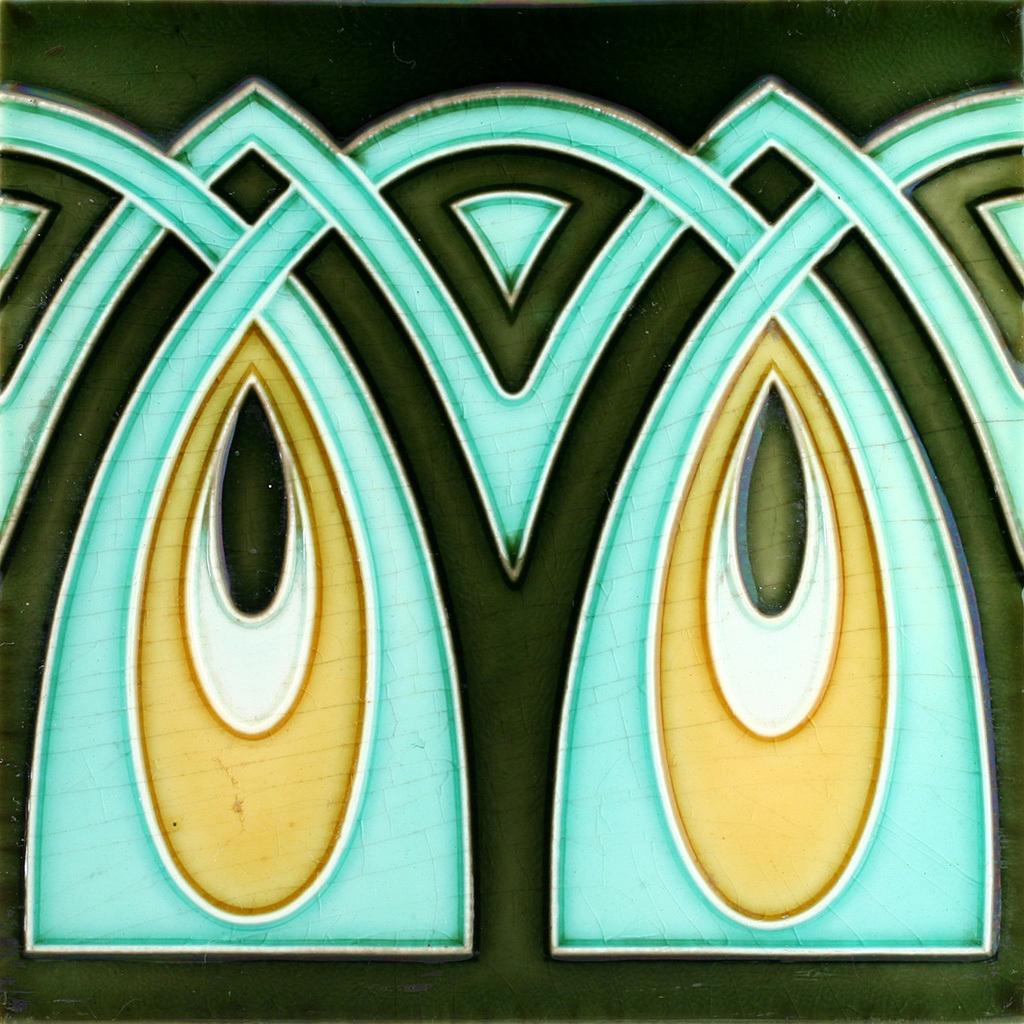 c.1900 DT AG. German Art Nouveau Tile, Now Framed