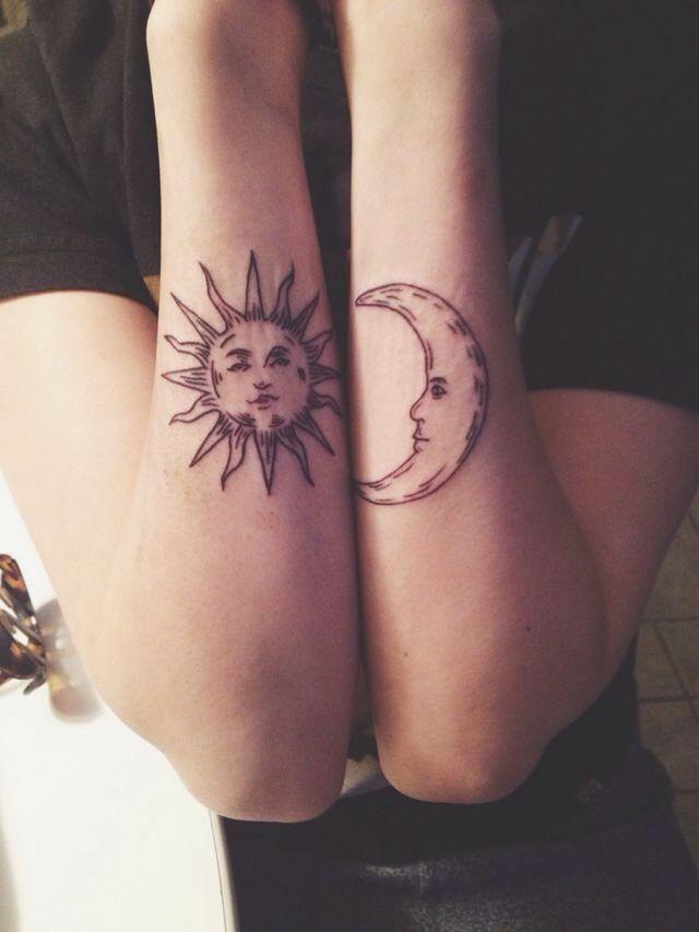 Sun And Moon Celestial Tattoo Emo Tattoos Elbow Tattoos