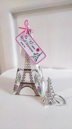 10 Llaveros Torre Eiffel París Personalizados Con Cajita