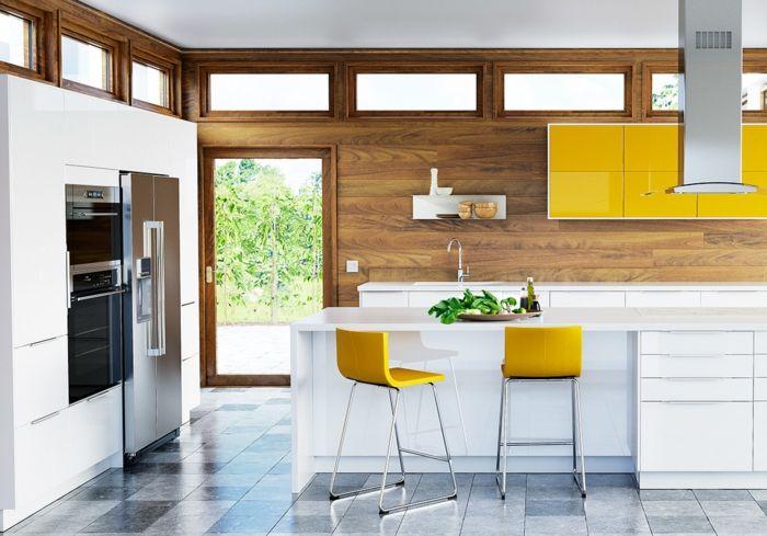 Küchenplanung Ikea Küchen creme baige hell gelbe stühle | Küche ...