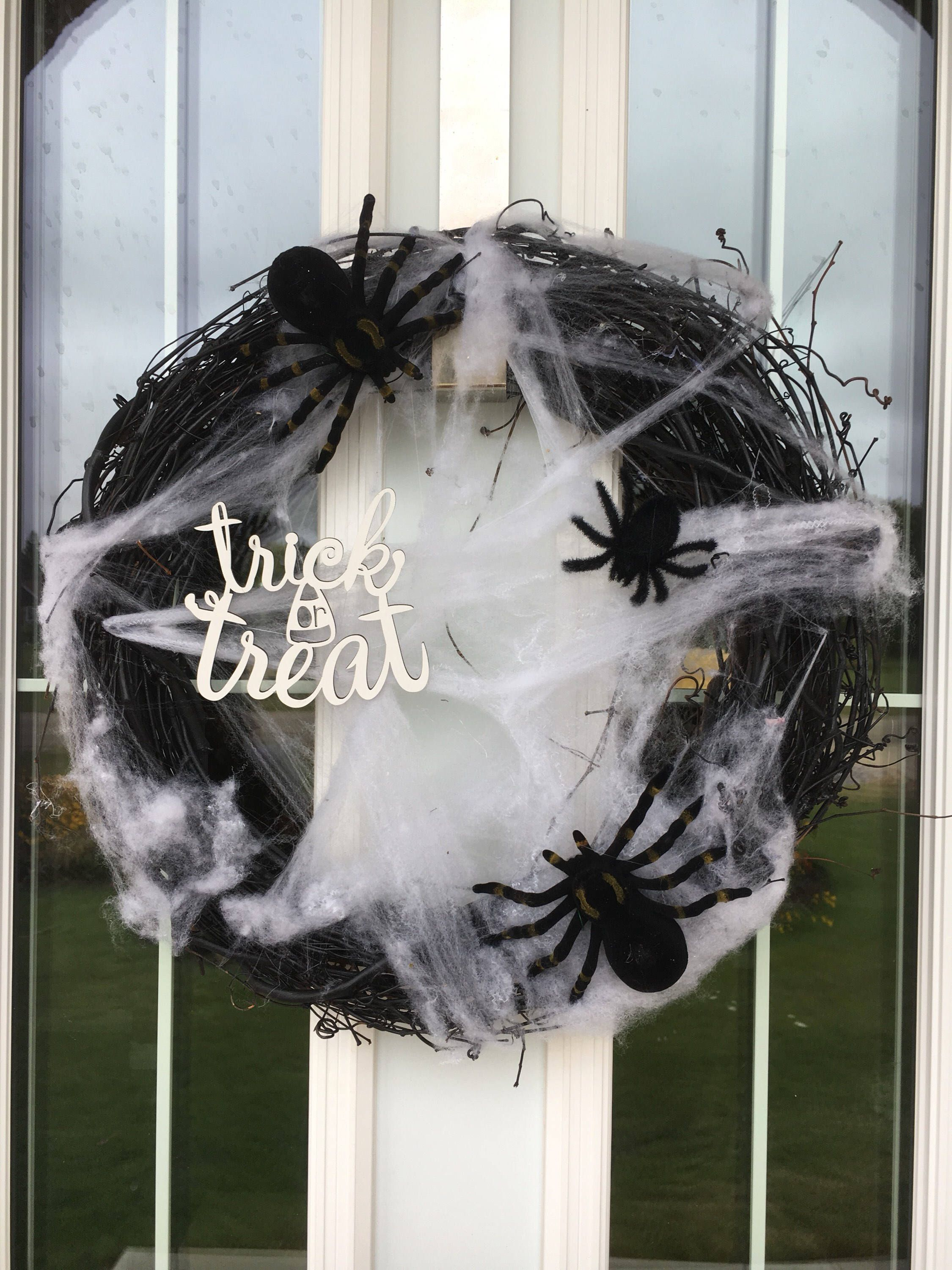 Black Halloween Wreath, Spider Wreath, Skeleton Wreath, Cobweb - Front Door Halloween Decoration Ideas