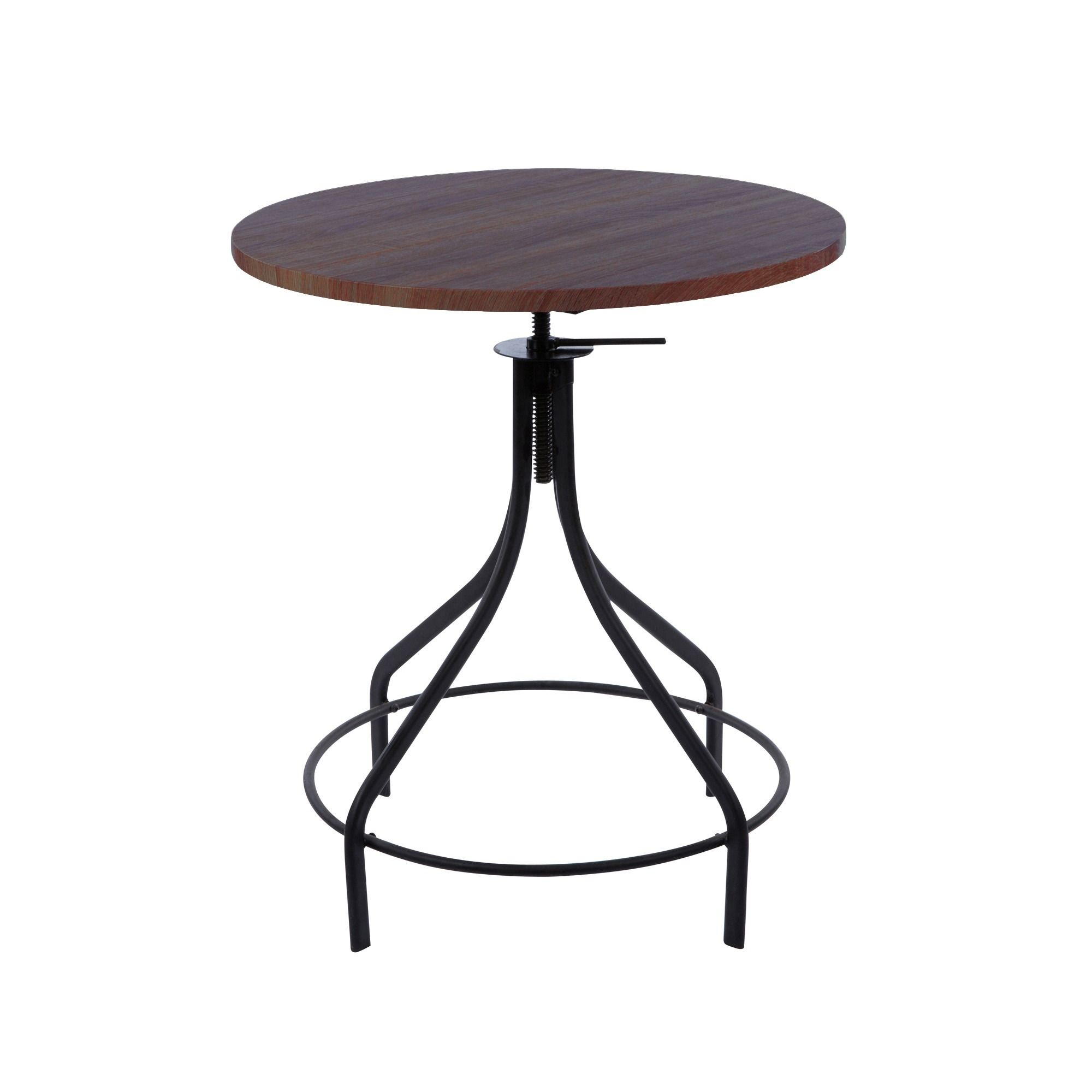 machinist black wood top round adjustable dining table