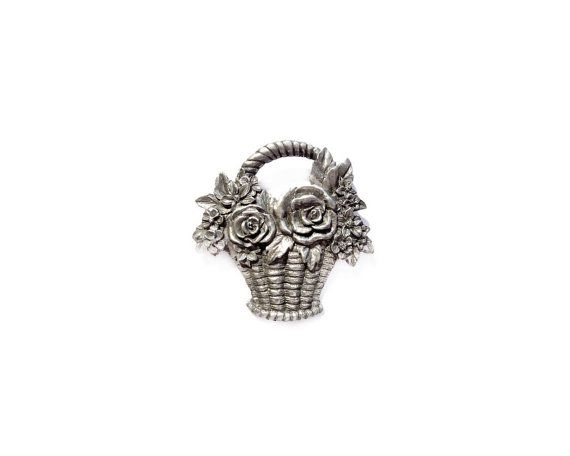 Flower Basket Brooch, Signed SEAGULL Pewter Pin
