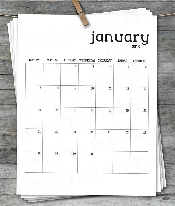 2018 Printable Calendar, Instant Download, PDF, Digital File - printable calendars