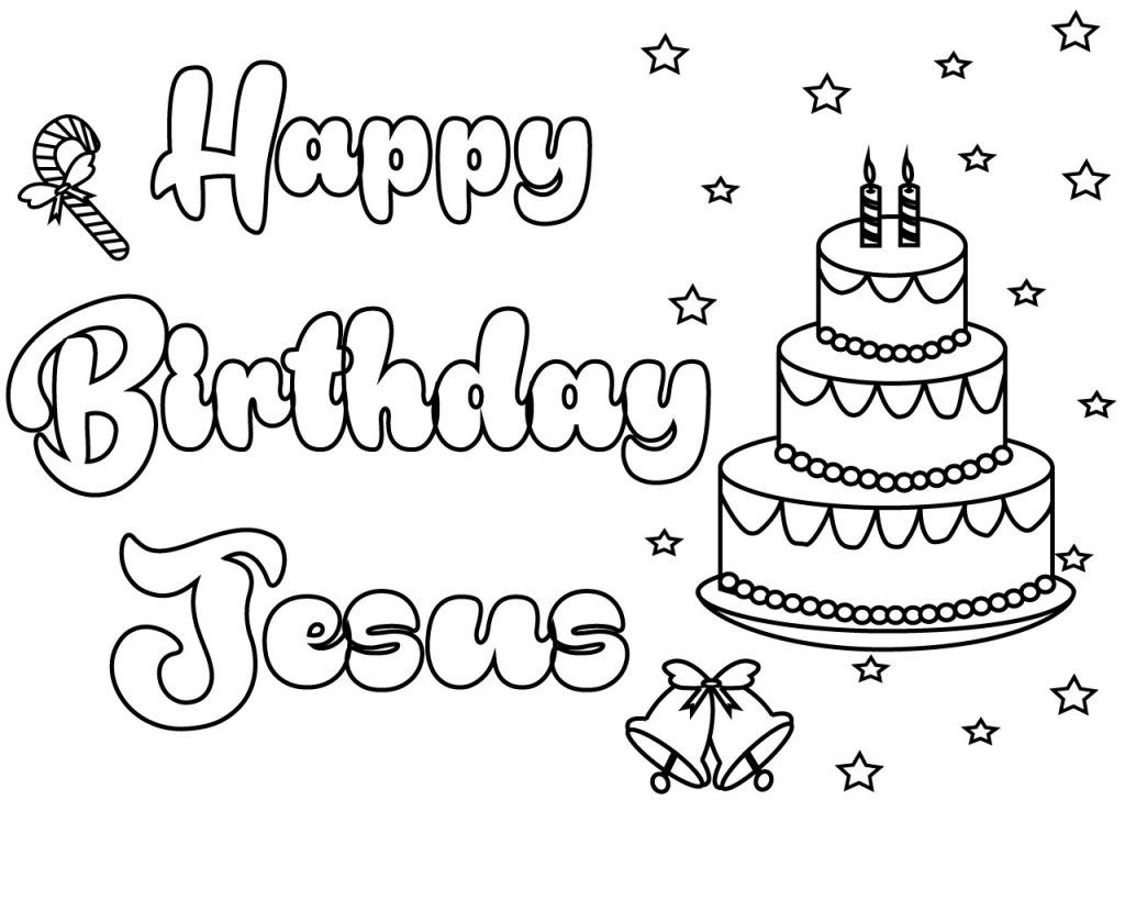 Christmas Happy Birthday Jesus Coloring Pages