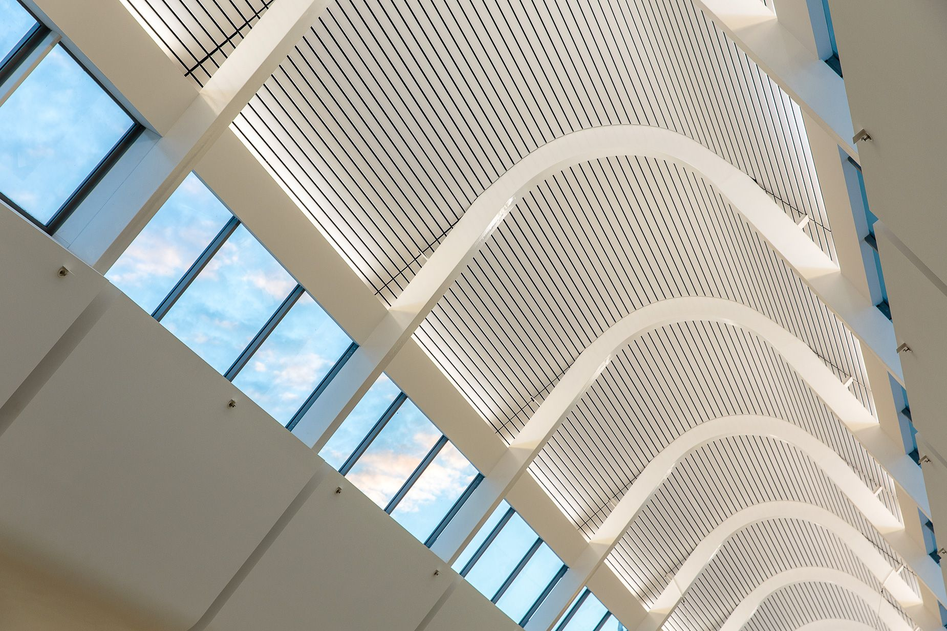 Project photography of the galleria skylight detail at
