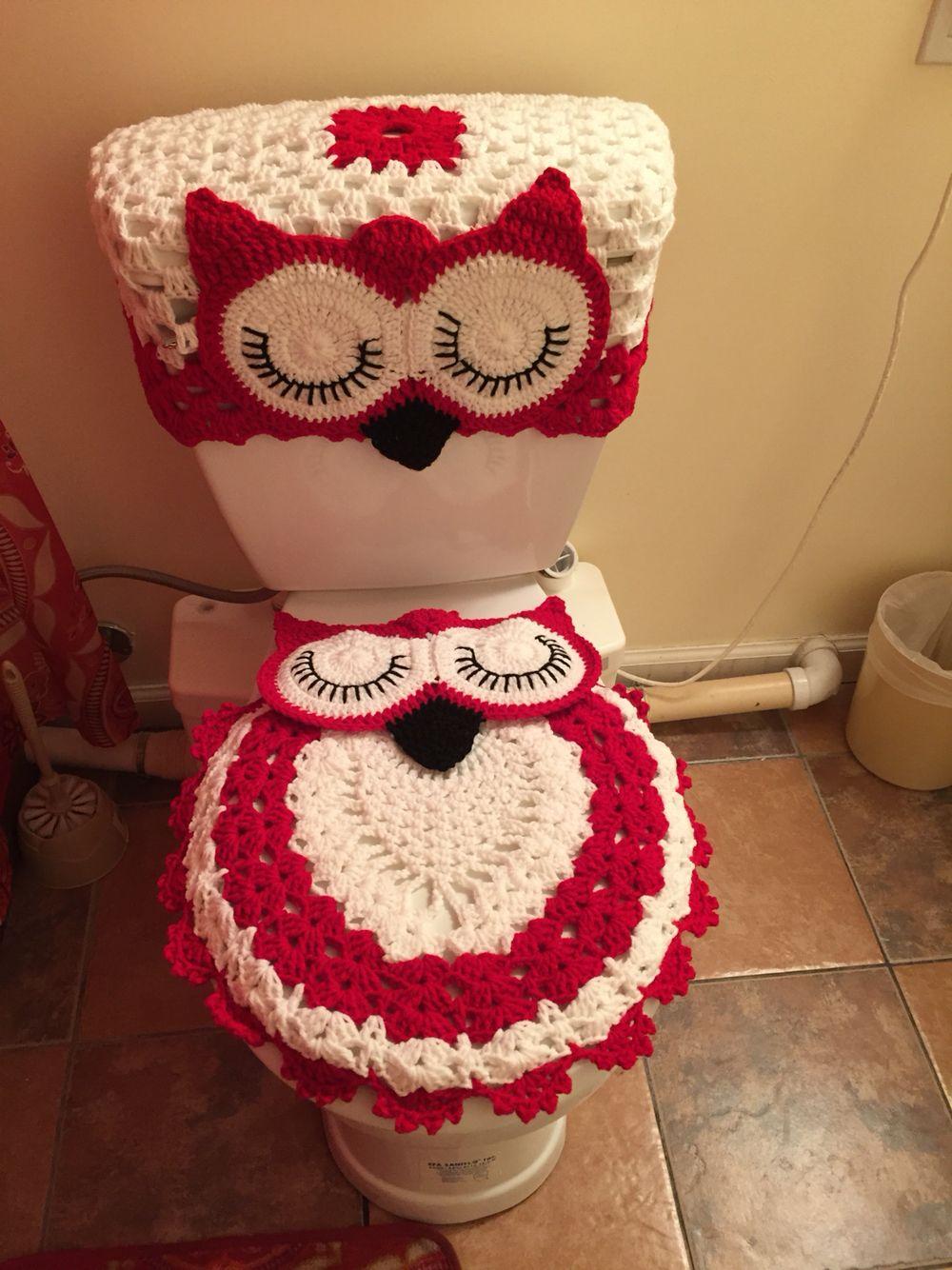 Owl Bathroom Set Crochet Bathroom Set Crochet Bathroom Owl Bathroom Set Owl bathroom decor set