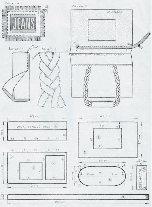 2-1 (515x700, 204Kb) | labores | Pinterest | Bolsos de jeans, Jeans ...
