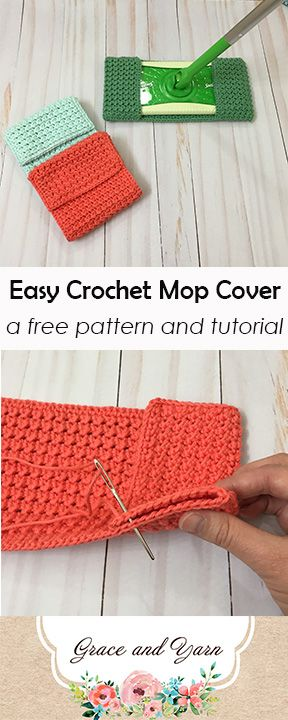Easy Crochet Mop Cover  A Free Pattern and Tutorial is part of Crochet, Crochet projects, Easy crochet, Crochet patterns, Knitting patterns, Crochet tutorial - 4 of the skein left over! These mop covers measure 10 inches long and 5 inches wide  My posts are usually amigurumi related as it's a huge passion of mine! So, in case you're thinking my niche has changed, worry no more  I will be back on track with a new pattern for you next week that adds to my forest animal friends! PIN this to save for later or purchase an adfree printable PDF in my Etsy or Ravelry store at a low cost! You may make and sell items made from this pattern but please do not sell, share or reproduce the actual pattern  If you sell finished items online (Etsy, etc) please provide a link to the pattern and credit to me as the designer, thank you  I hope you enjoy this pattern! This post contains affiliate links, please click here for more info  Thank you for supporting Grace and Yarn! Materials  130 yards of cotton yarn  4mm crochet hook (these are my favorite to use!)  Scissors  Tapestry needle to weave in ends  Stitch markers (optional, they can come in handy to keep rows even) US Abbreviations Ch  Chain HDC  Half double crochet Sl st  Slip stitch SC  Single crochet Gauge 22 rows should be a 5  x 5  square, adjust your hook size accordingly if your sample swatch is a different size (Example Try going up a hook size if your swatch is smaller; Go down a hook size if your swatch is bigger) Here we go! Chain 25 Row 1 HDC in the 2nd ch from your hook, sl st in the next, repeat until the end of the row, ch 1 and turn (24 stitches) NOTE Each row will always start with a HDC and end with a slip stitch, this is one of my favorite parts because it helps me keep my rows even so I don't miss or add a stitch  It can also be handy to put a stitch marker in the last stitch of each row, this way when you reach the end you see where you need to place your last stitch  Row 2 HDC in the first stitch, sl st in the next, repeat until the end of the row, ch 1 and turn (24 stitches) Rows 376 Repeat row 2 Your work should measure 16 inches long, do not fasten off, continue with border below Border SC around each of the four sides of your work completing 2 SC in each corner  This gives the cover a nice finished work and makes sewing a breeze! Sewing Fold each side in 3 inches and sew sides together  I sewed down through the stitches and back up the next to give it a nice layered look  Weave in your ends  You are done and ready to mop! Be sure to join the Grace and Yarn Crochet Group on Facebook and share your projects  This is a growing community full of encouragement and inspiration  Plus stay up to date on new patterns and giveaways! I'm curious, will you make these for yourself or someone else in mind