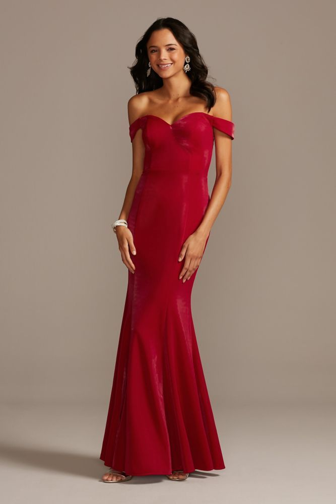Shiny Off the Shoulder Mermaid Gown with Bow Back Style