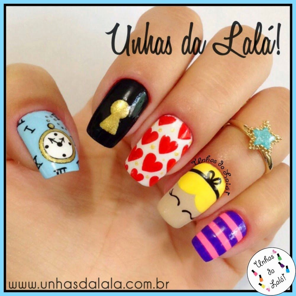 unhas inspirados em alice no país das maravilhas - Pesquisa Google |  Diseños de esmalte de uñas, Uñas con figuras, Manicuras
