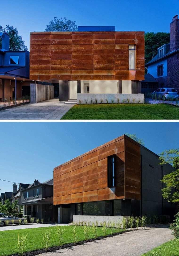Moderne und einzigartige Häuser mit außen in Stahl gekleidet ...
